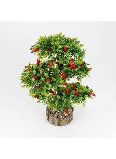 Çiçekmisin Kütük Saksıda Yapay Kırmızı Biber Ağacı Renkli